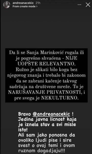 Andreana Čekić o Sanji Marinković