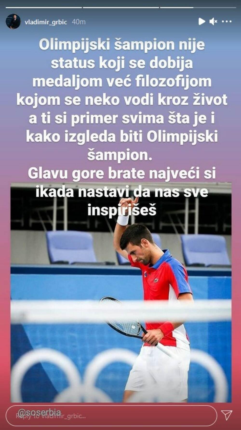 Poruka Vanje Grbića Novaku Đokoviću