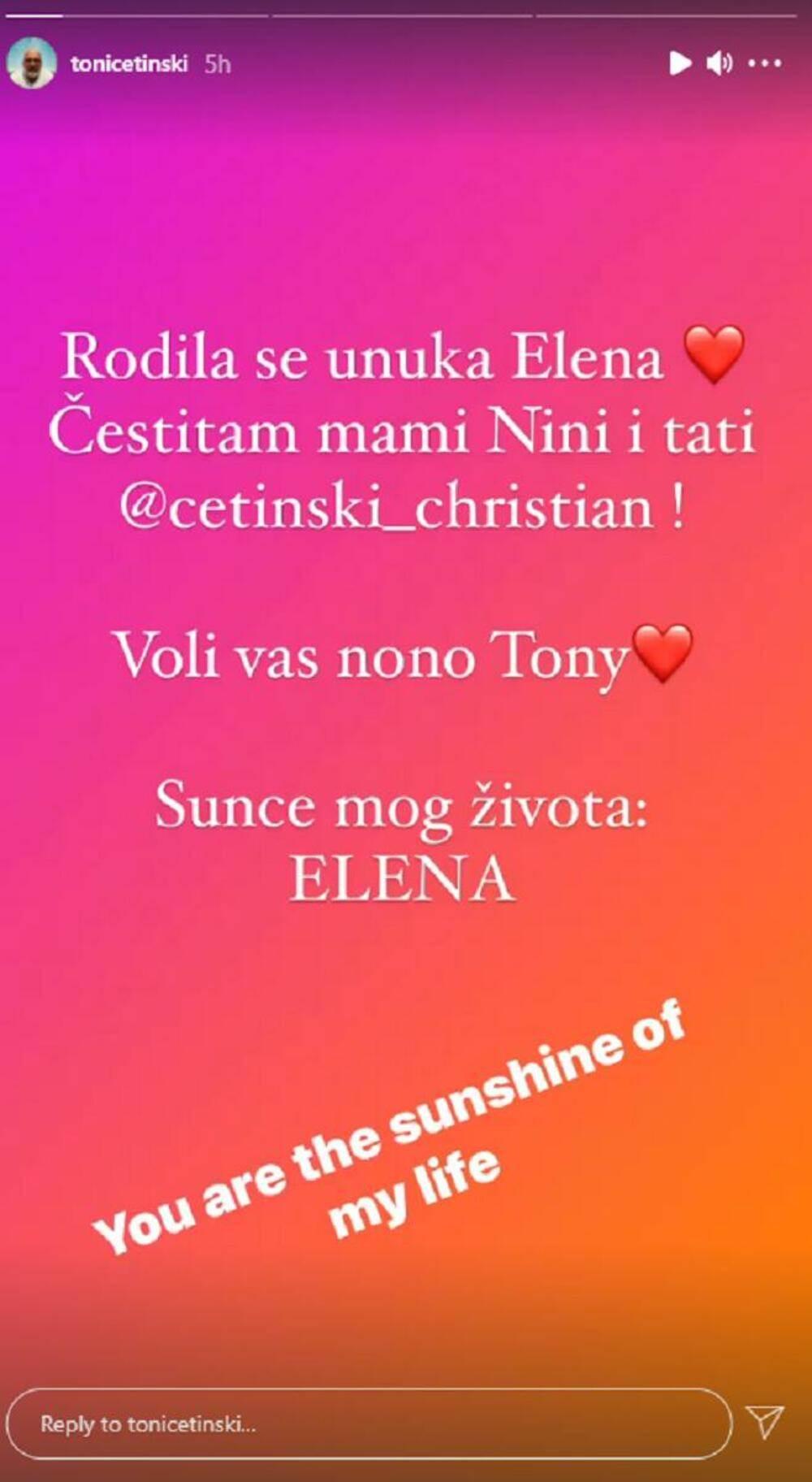Toni Cetinski dobio unuku