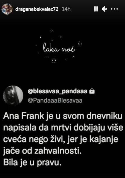 Dragana Bekvalac poruka