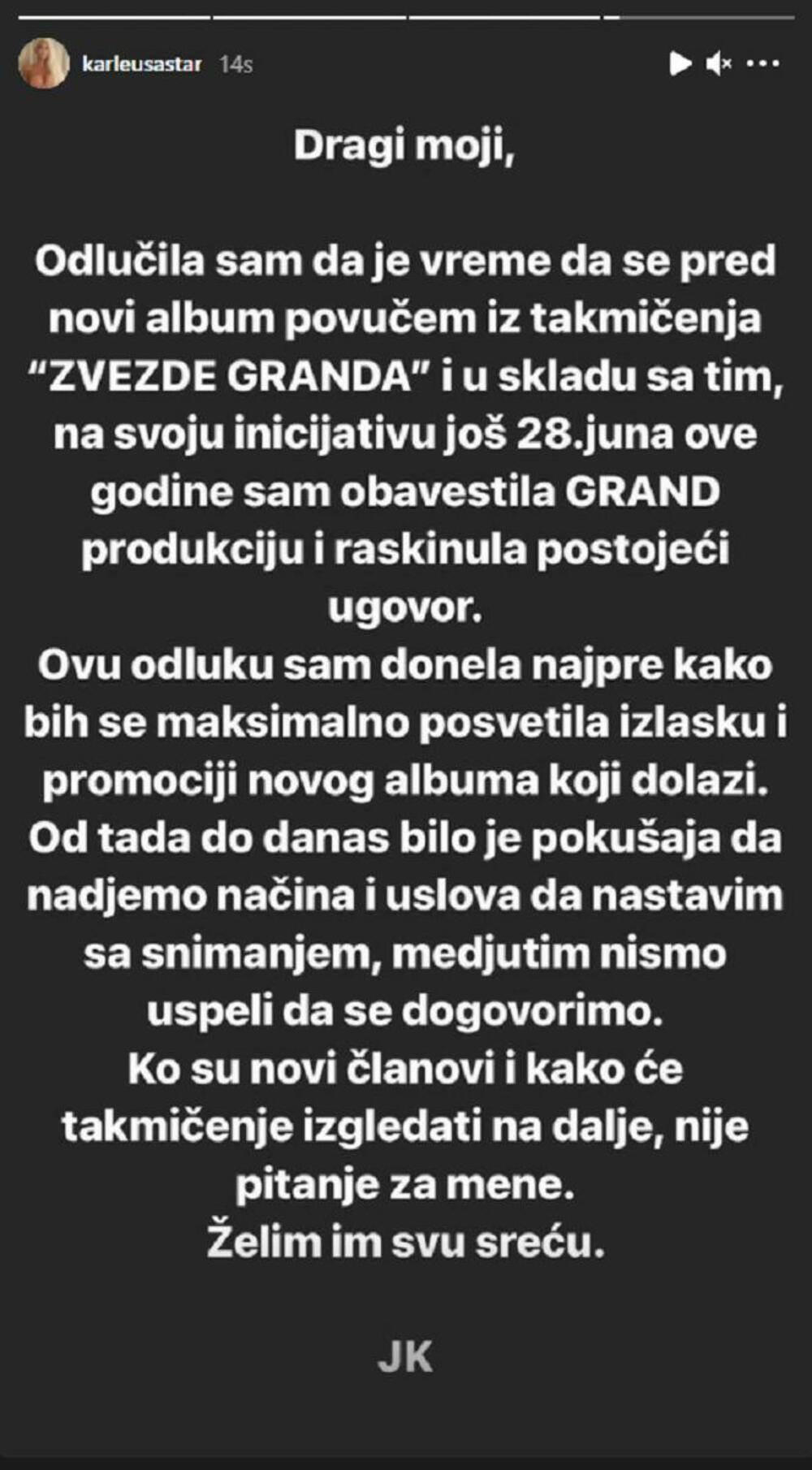Jelena Karleusa napušta Zvezde Granda