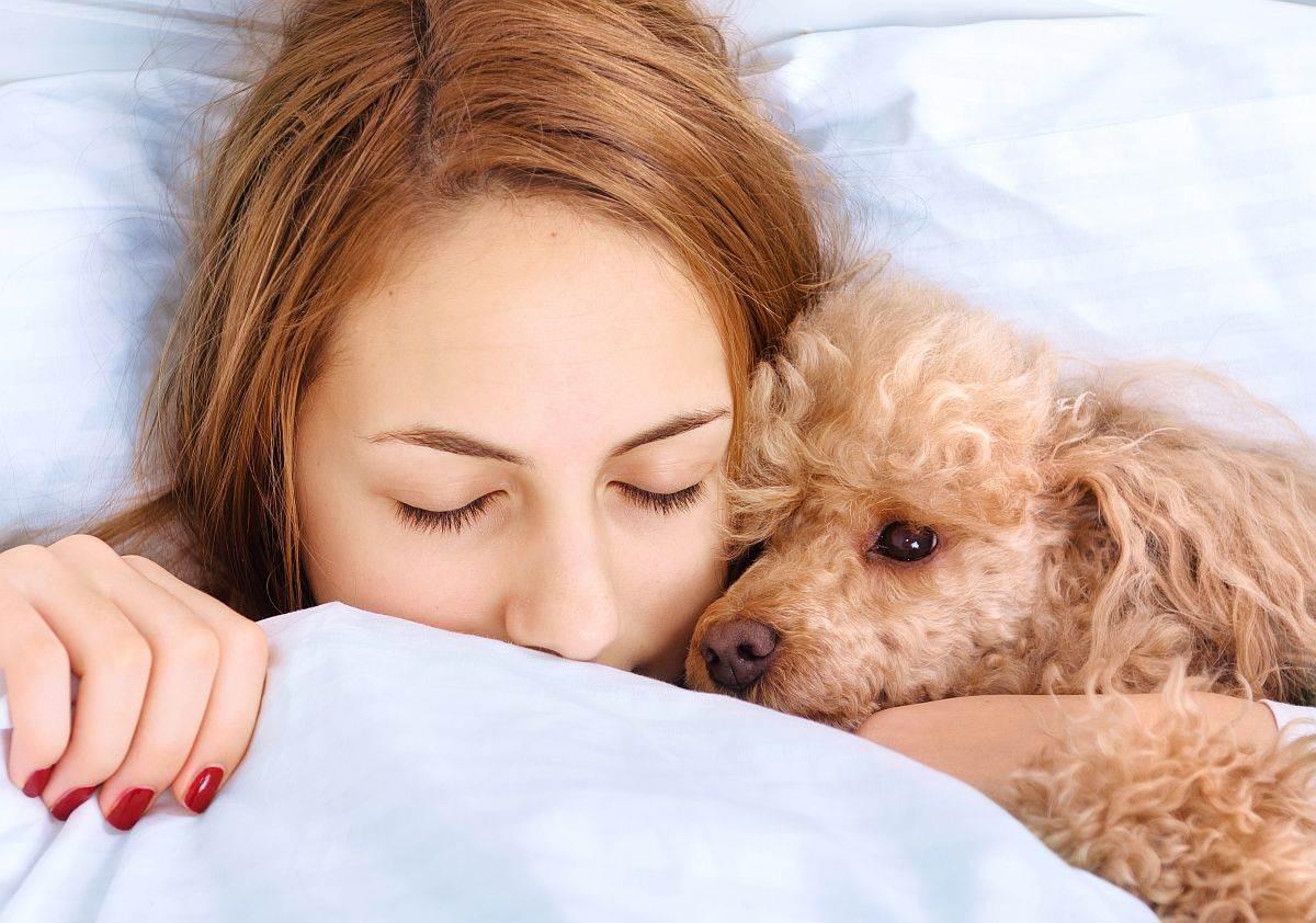 zena spava sa psom