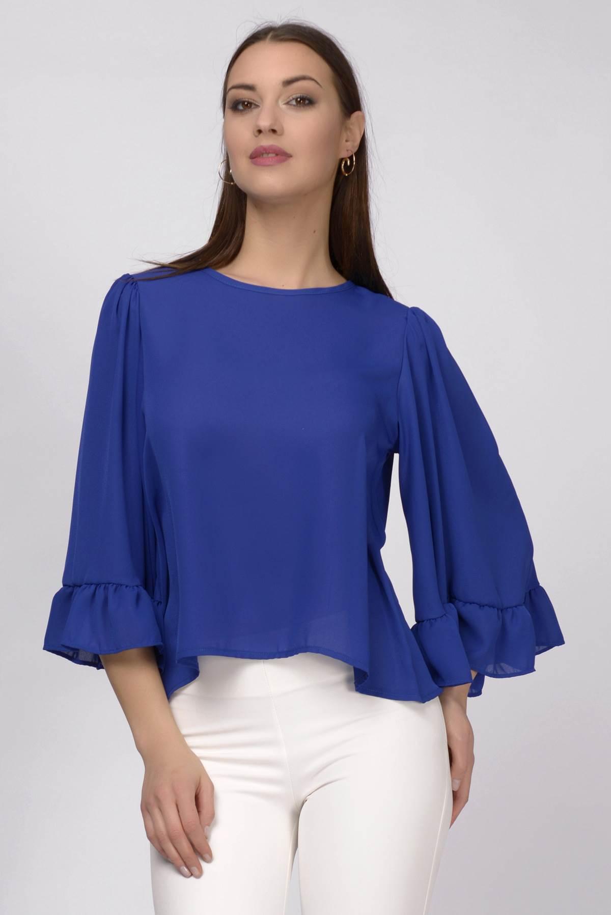 Plava bluza sa kimono rukavima
